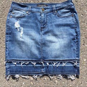 Liverpool Double Raw Hem Stretch Mini Jean Skirt